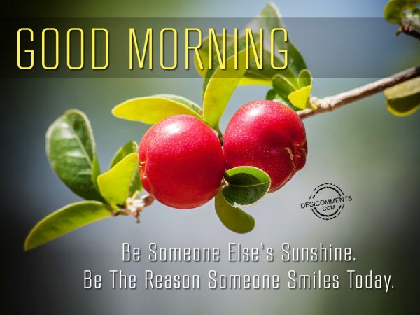 Be Someone Else Sunshine. Be The Reason Someone Smiles Today.