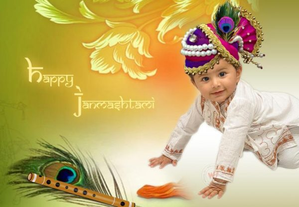 Beautiful Image Of Happy Krishna Janmashtami