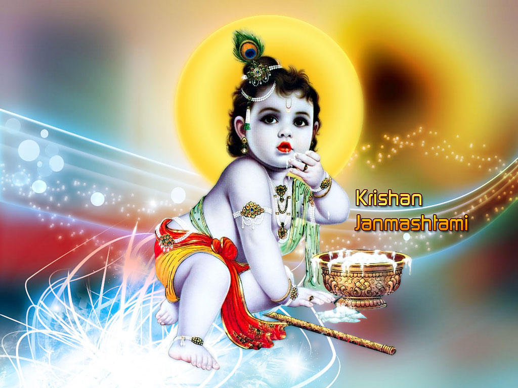 Latest Happy Janmashtami Images HD Greeting Card Wallpaper with Msg