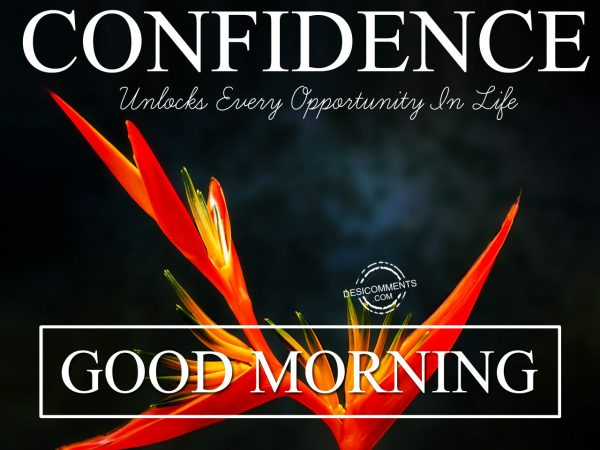 Confidence Unlocks Every Opportunity In Life. Good Morning