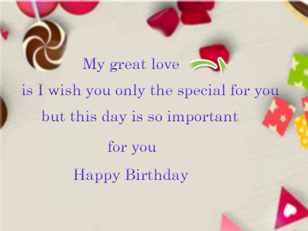My Great Love Is I Wish You Only The Special For You