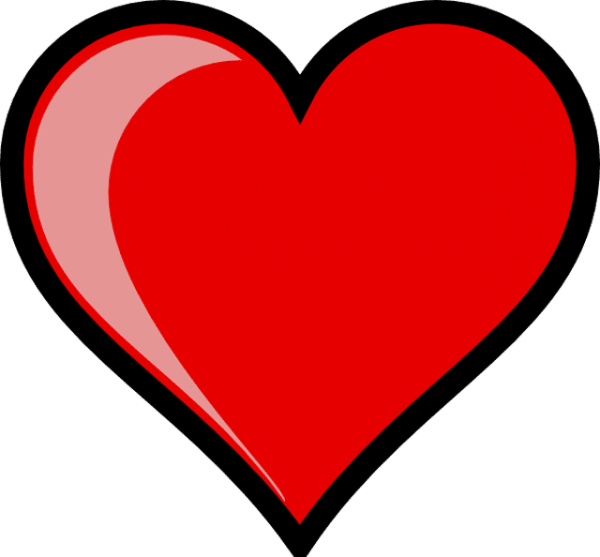 A Large Red Heart With A Black Outline