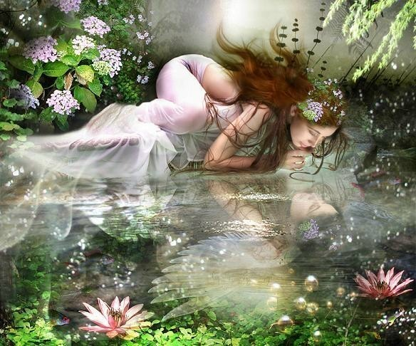 Beautiful Angel Water Reflection Graphic