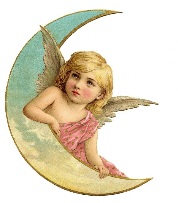 Cute Angel With Moon