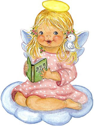 Cute Little Angel With Book