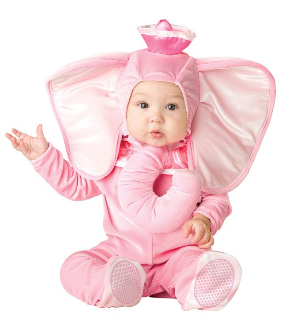 Cute Little Baby In Pink Elephant Costume