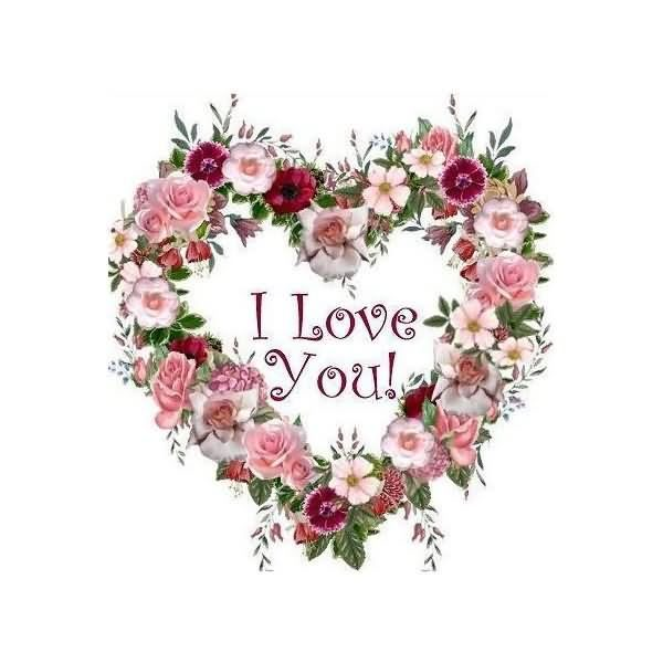I Love You Heart Flower Image