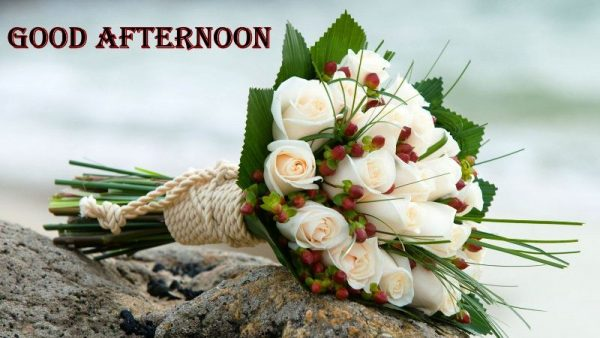 Good Afternoon With Bouquet Of White Roses