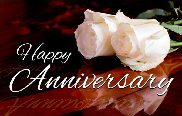Happy Anniversary With White Roses