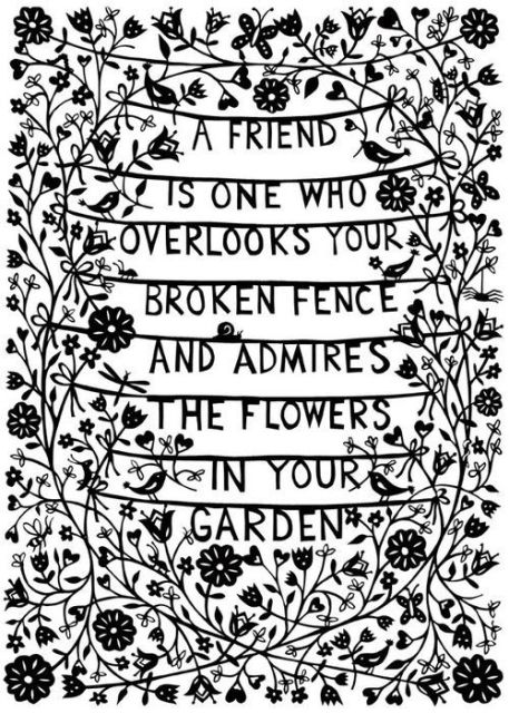 A Friend Is One Who Overlooks Your Broken Fence