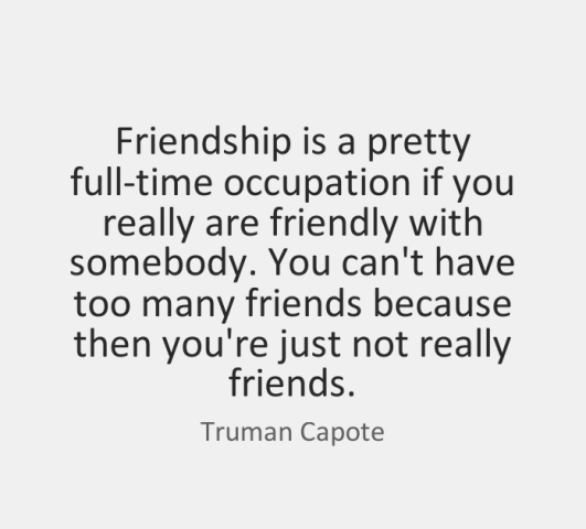 Friendship Is A Pretty Full Time Occupation