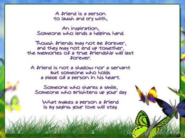 A Friend Is A Person To Laugh And Cry With You-DC020