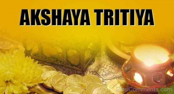 Akshaya Tritiya On Yellow Background