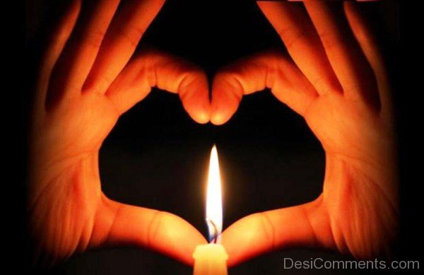 Beautiful Love Heart With Candle-tvw219desi14