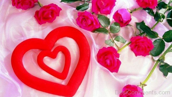 Beautiful Red Heart With Pink Roses-tvw225desi50