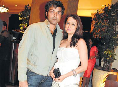 Bobby Deol With His Wife Desicommentscom