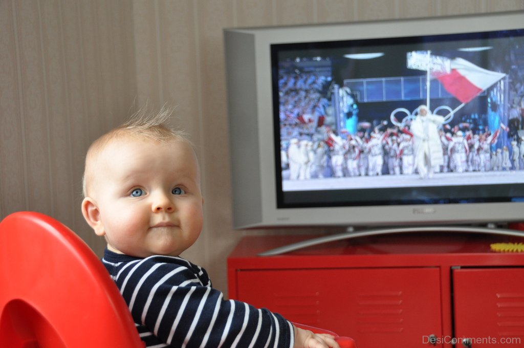 Cute Baby Watching Television - DesiComments.com