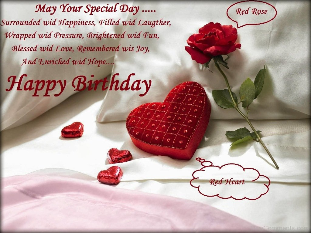 Happy Birthday With Red Rose And Red Heart Desicomments Com