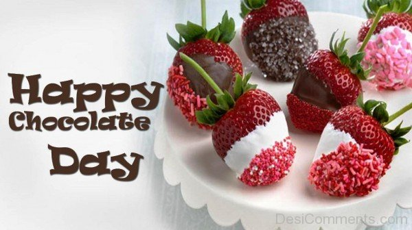 Happy Chocolate Day With Chocolate Stawberries-tik09-DESI09