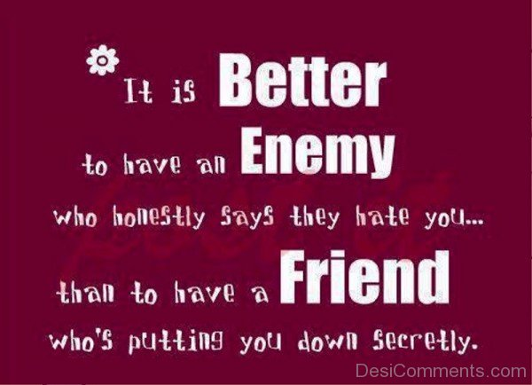 It Is Better To Have An Enemy Who Honestly Says They Hate You-dc1217