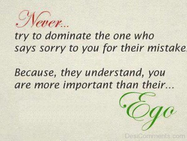 Never Try To  Dominate The One Who Says Sorry To You For Their Mistake Because They Understand You Are More Important Than Their Ego-DC34