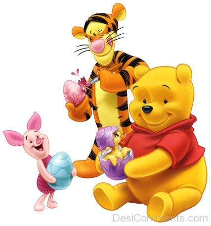 Tigger,Piglet And Winnie Holding Easter Eggs-DESI6098