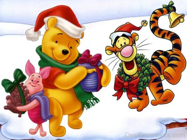 Tigger,Winnie And Piglet With Christmas Gifts-DESI6073