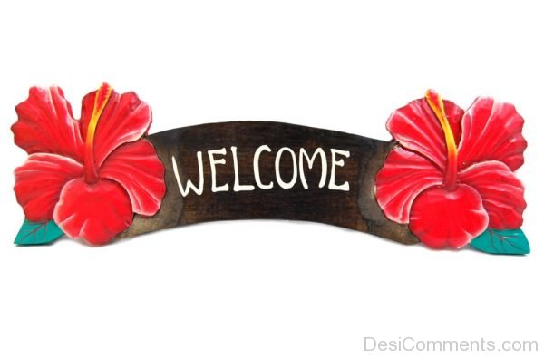 Welcome Red Flower Sign